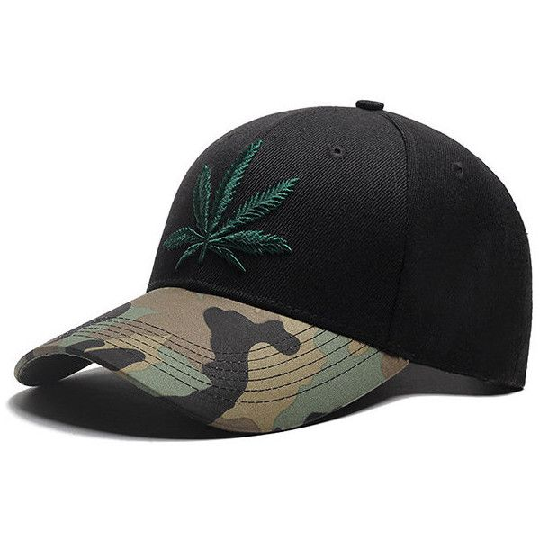Camouflage Maple leaves Baseball Cap ($11) ❤ liked on Polyvore featuring men's fashion, men's accessories, men's hats, mens camo hats and men's brimmed hats