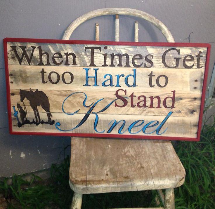 kneel, western pallet sign