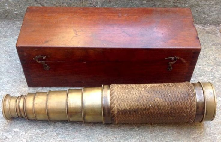 Eight drawer brass refracting telescope signed Guiseppe La Barbera Palermo - 19n #Nautical #GuiseppelaBarbera