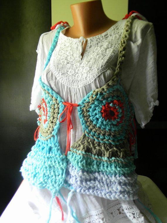 Knitted  crocheted vest Fisherman's Evening by JadAngel on Etsy