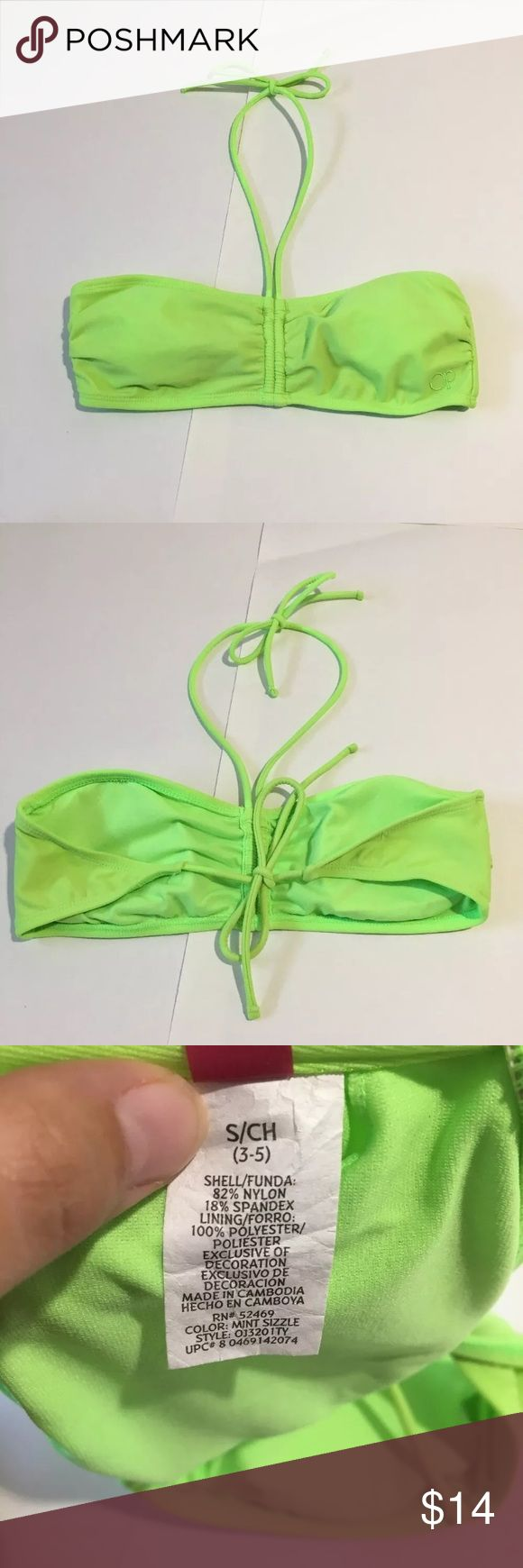 """Op Lime Green Bandeau Bikini Bathing Suit Top S Perfect condition bandeau halter bikini top with tie back and removable padding. Size juniors Small (3-5). 50"""" from end to end and 12"""" across the top itself Op Swim Bikinis"""