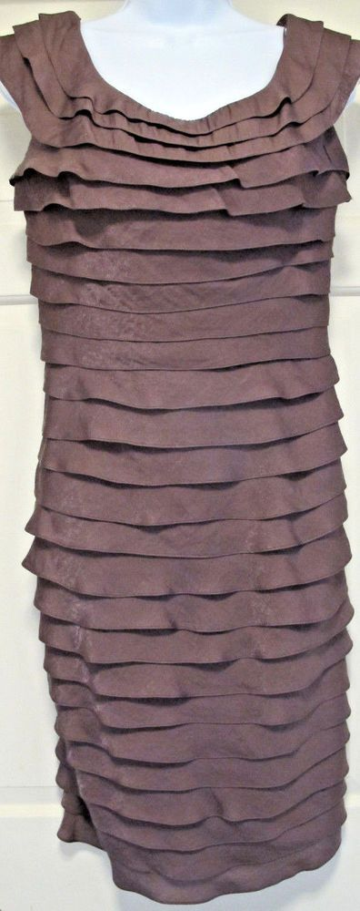 Ladies Cocktail Dress Plum Ruffled 8 Lined Adrienne Papell Design Holiday Party #AdriannaPapell #LinedPlumRuffledInvisibleZipperFestiveSheathTiered #Cocktail
