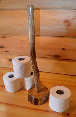4 Roll Rustic Toilet Paper Holder Log Cabin - Bathroom Organizer Storage for TP