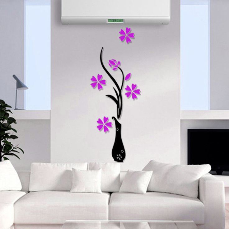 Nice 3 Different Colors Beautiful 3D Three Dimensional Vase Background  Flower Tree Acrylic Wall Sticker DIY