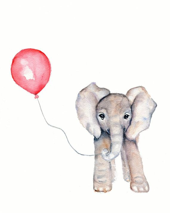 Elephant with balloon watercolor nursery by Marysflowergarden, $12.00 Obviously I would do the balloon yellow and not pink