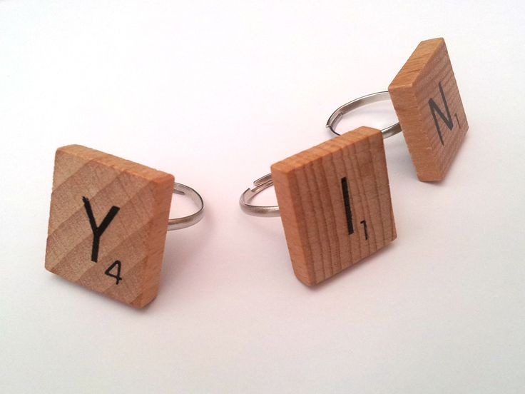 "DIY Scrabble Ring. I see scrabble rings spelling ""thug life"" in my daughter future."