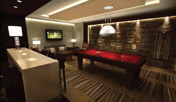 Elegant interior home with stunning home billiard room for Bar dans une maison