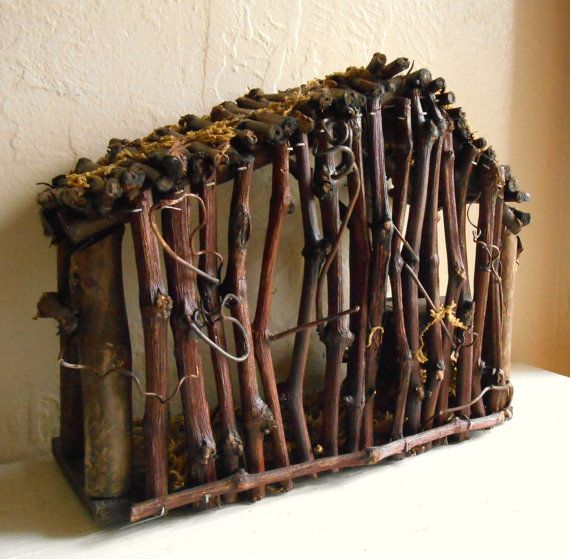 Pesebre de madera vintage para Navidad Natividad escena