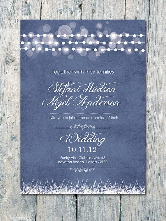 Digital - Printable Files - Navy - Romantic Light Garland Wedding Invitation and Reply Card Set - Wedding Stationery - ID127N