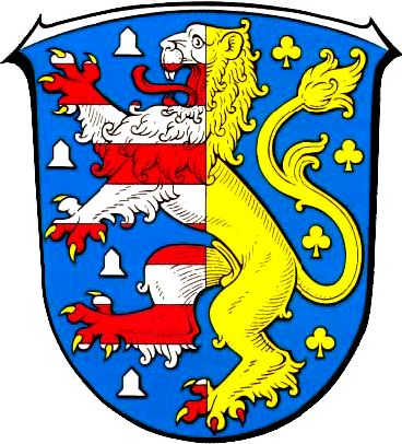 Arms of Hochtaunuskreis, Germany Blazon: Azure a lion rampant per pale the dexter barry of ten argent and gules armed or, the sinister of the fourth armed of the third between four bells of the second and as many trefoils of the fourth.