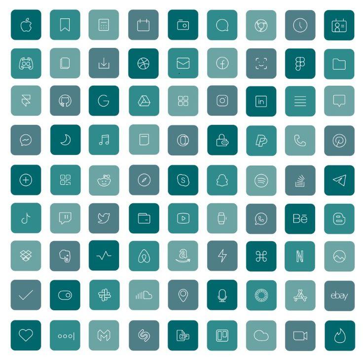 36 aquamarine ios 14 app icons blue bright mood widget