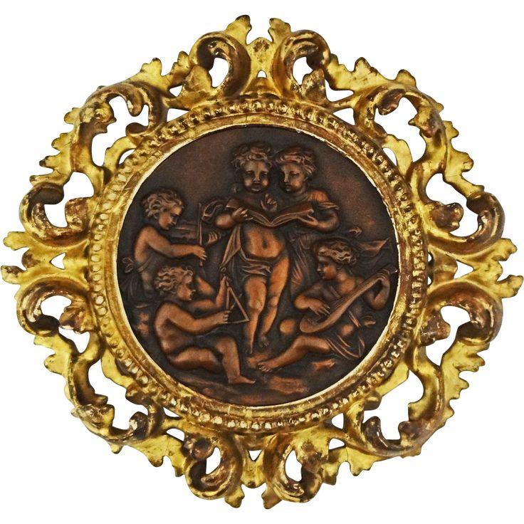 Copper Relief Putti Round Plaque Florentine Gilt Frame - 19th Century, Continental