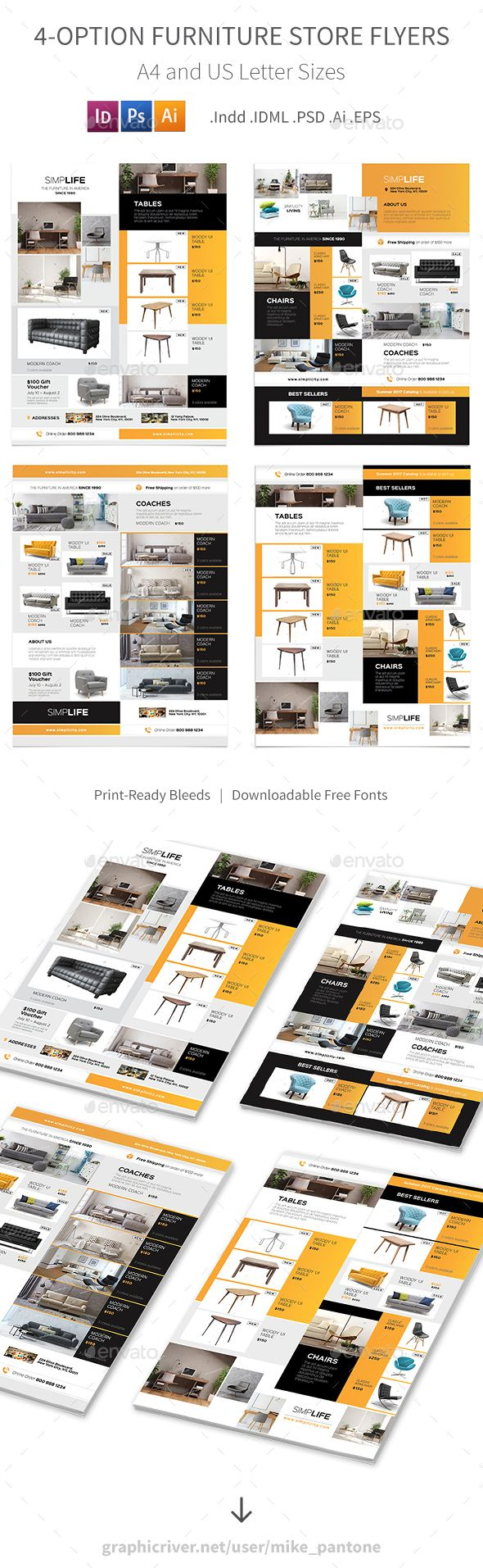 Furniture Store Flyers 3 – 4 Options