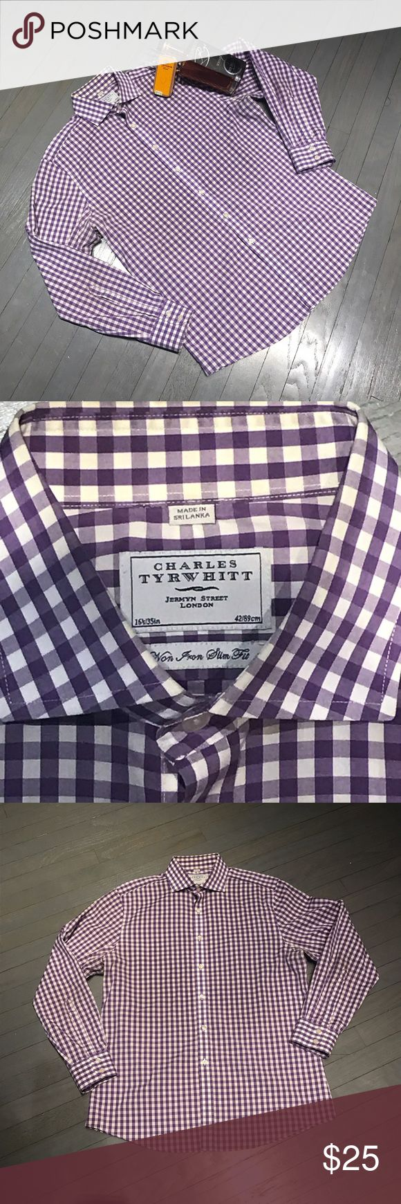 Charles Tyrwhitt purple white check non iron slim Charles Tyrwhitt purple white check non iron slim fit spread collar button down shirt. Not recently dry cleaned ASOS Shirts Dress Shirts