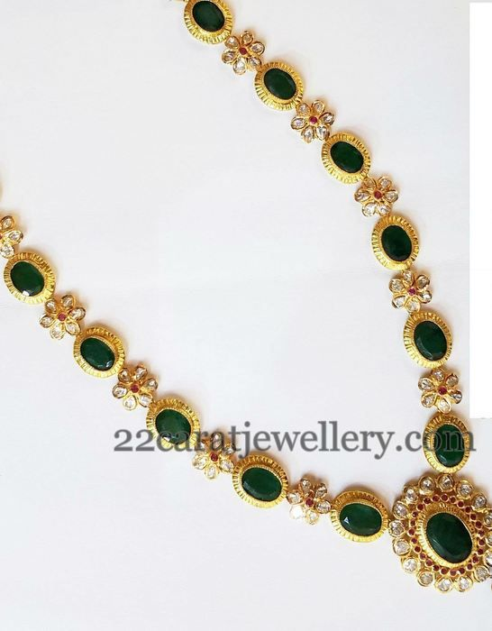 Jewellery Designs: Emeralds and Pachi Floral Long Set