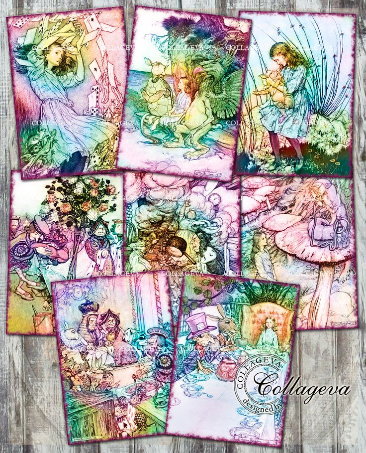 Alice in Wonderland Digital Tag ATC ACEO Cards, Children Book Illustrations Colorful Clipart Images Downloadable Vintage Ephemera (T019-a) by collageva on Etsy