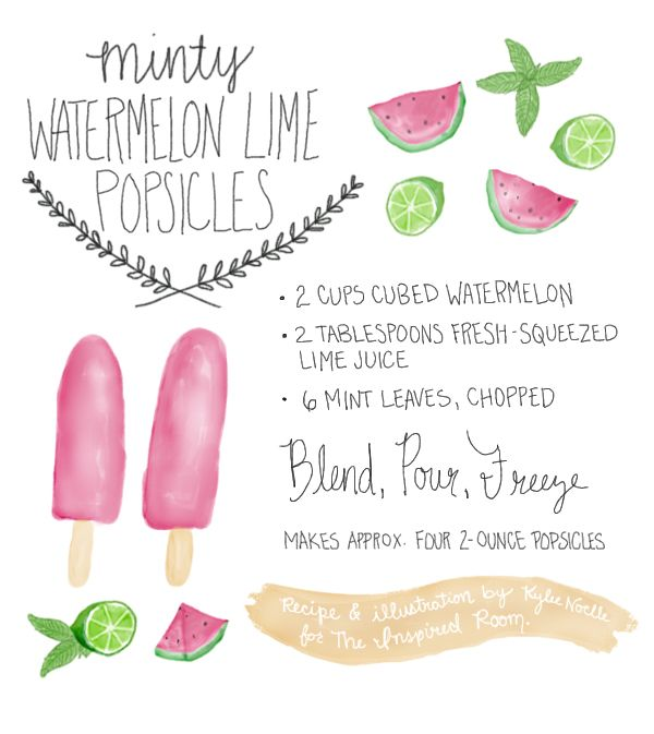 popsicle recipe:: enjoy these delicious and nutritious minty watermelon lime gourmet fruit pops {and download the adorable hand drawn recipe printable via the link}