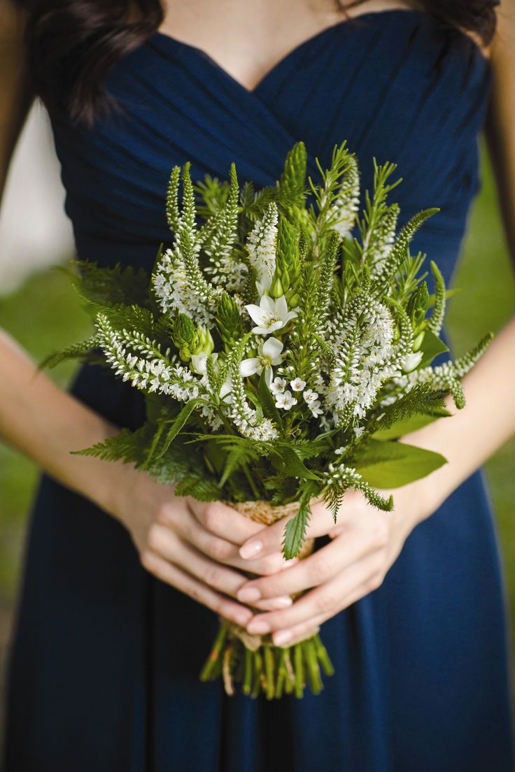 Rustic Wedding Bouquet Arranged With: White Veronica, Star Of Bethlehem, Green Rosemary, Green Fern, Green Leather Leaf Fern & Green Foliage Hand Tied With Burlap Ribbon ••••