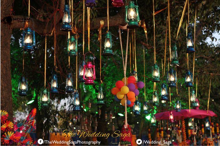 Creating an ethnic village feel with traditional lanterns and handicraft embellishments.  #TheWeddingSaga #MohanColorLab #Wedding #Decor