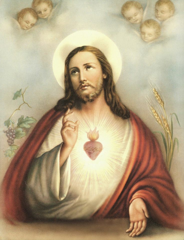"""8"""" x 10"""" Catholic Art Print Picture SACRED HEART OF JESUS with Angels picclick.com"""