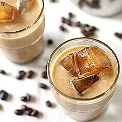 Iced latte, guys this stuff is so good! You cam do it simply at home. You need just: 1 cup coffee 1 cup milk Ice cubes 1/4 cup Melted chocolate  Put all the ingredients in to a blender.
