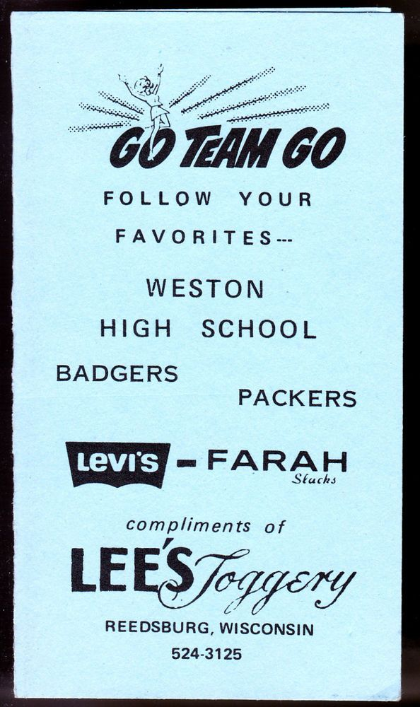 1976 GREEN BAY PACKERS WISCONSIN BADGERS WESTON HIGH FOOTBALL POCKET SCHEDULE #Pocket #GreenBayPackers #PocketSchedules