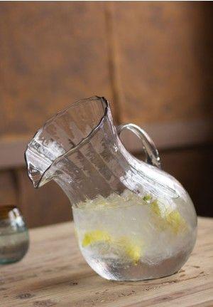 Ribbed Tilted Pitcher, Pitcher, Water, Tea, Lemonade, Juice, Glass, Antique, Vintage, Farmhouse Decor, Barnyard, Clear, Large, Slanted Glass Pitcher, Carafe, Serveware, Dinnerware