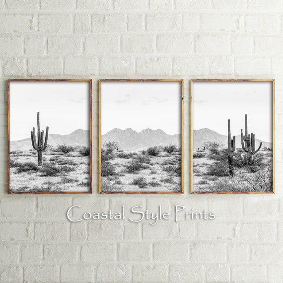 Black And White Desert Decor Printable Wall Art Set Of 3 Bw Etsy In 2021 Desert Decor Wall Printables Printable Wall Art