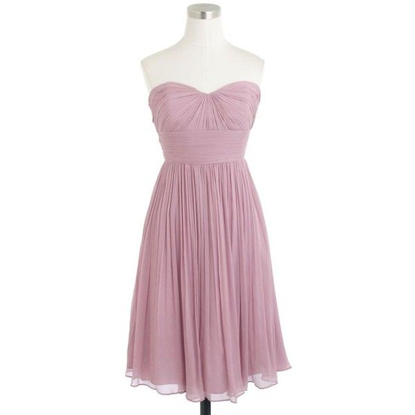 J.Crew Petite Marbella Strapless Dress (£185) ❤ liked on Polyvore featuring dresses, petite, purple cocktail dress, purple bridesmaid dresses, holiday cocktail dresses, petite cocktail dress and special occasion dresses