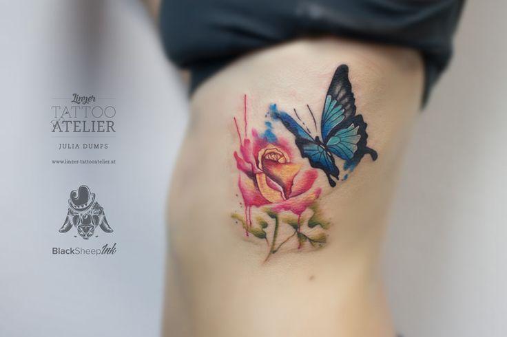 rose butterfly watercolor tattoo tattoos pinterest tattoo ideen schmetterling tattoo. Black Bedroom Furniture Sets. Home Design Ideas