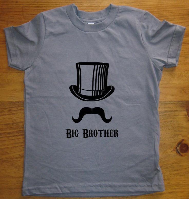 Big Brother Shirt - 6 Colors Available - Kids Big Brother Top Hat Mustache T shirt Sizes 2T, 4T, 6, 8, 10, 12 - Gift Friendly. $15.95, via Etsy.