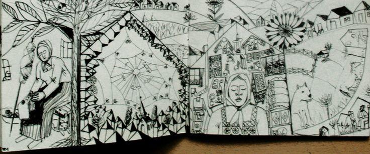 Ilustratie, pagina de carte. colinde.detaliu.2
