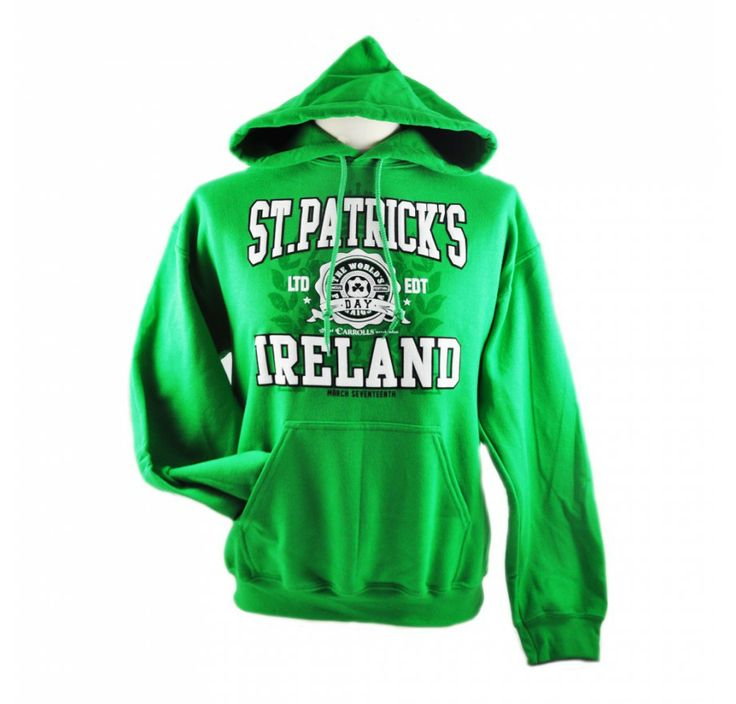 Pullover Hoddie with St. Patrick's Ireland Limited Edition Print, Green Colour.