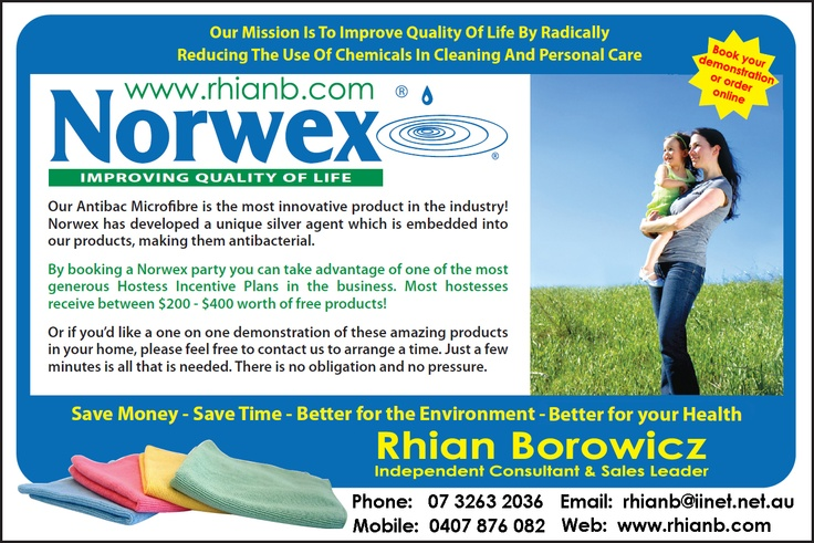 Contact me for all of your Norwex chemical free skin care & cleaning needs www.rhianb.com