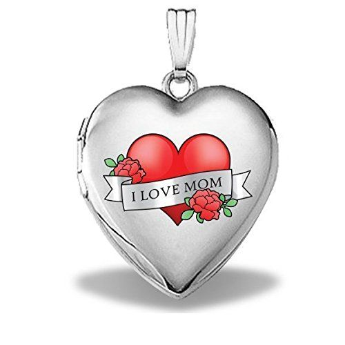 """Sterling Silver Mothers Day """"Mom Tattoo"""" Heart Locket - 3/4 Inch X 3/4 Inch. 3/4 inch x 3/4 inch. 17mm - size of a US dime, 19mm - size of a US nickel, 25mm - size of a US quarter. Made in the USA. All Medals are Solid 14k or .925 Sterling Silver. Free Jewelry Gift Box. Chain NOT Included. Ships in one day."""
