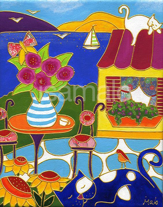 Jour de paresse par Isabelle Malo • Acrylique sur toile • Folk art • www.isamalo.com • Artiste peintre du Québec • Art naïf