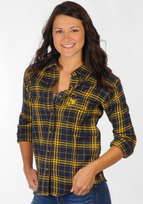 WVU Boyfriend Fit Plaid Shirt