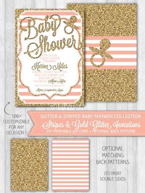 Girl Baby Shower Invitation Blush Pink & Gold Glitter by WonderBash, $10.00