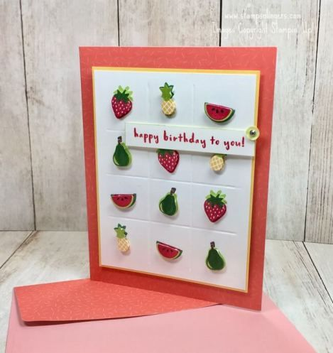 Stamps-N-Lingers.  Check out the new Fruit Basket stamp set and bundled Itty Bitty Fruit Punch Pack!  All made on the Sale-A-Bration FREE Tutti-Frutti Cards and Envelopes!  For free instructions on how to make this card, please visit my blog at: https://stampsnlingers.com/2017/12/29/stampin-up-tutti-frutti-fruit-basket-sneak-peek/