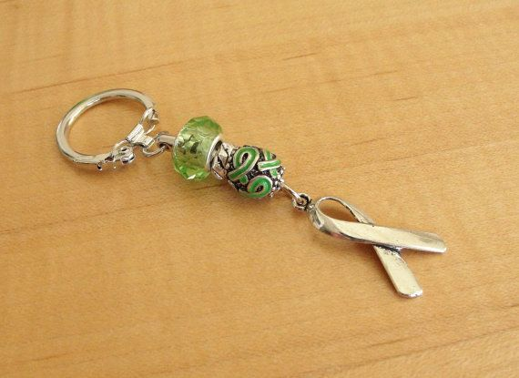 Lime Green Awareness Key Chain  Muscular Dystrophy by Twenty2Roses