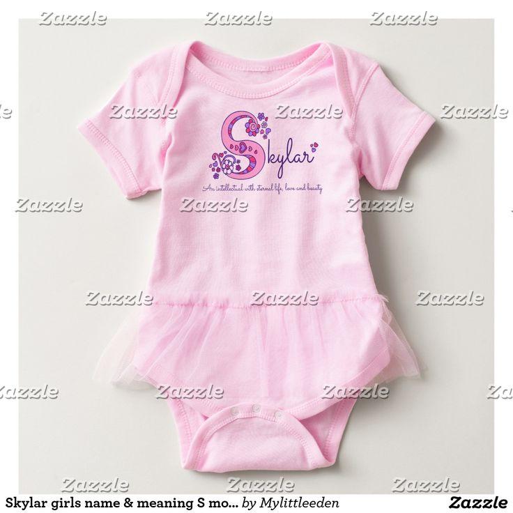 Skylar girls name & meaning S monogram baby romper #skylar #girlsnames #namemeanings