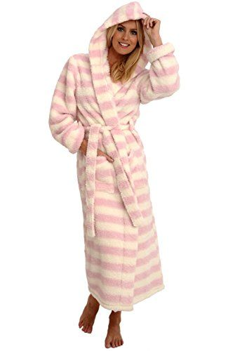 Women's Sleepwear - Del Rossa Womens Fleece Robe Long Plush Hooded Bathrobe * Check out the image by visiting the link.
