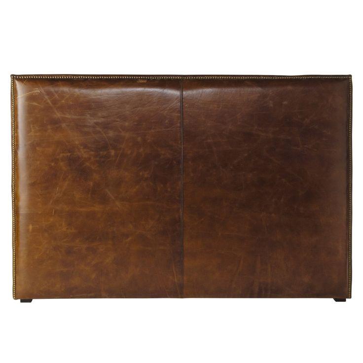 Tête de lit 160 cuir vieilli marron  ANDREW