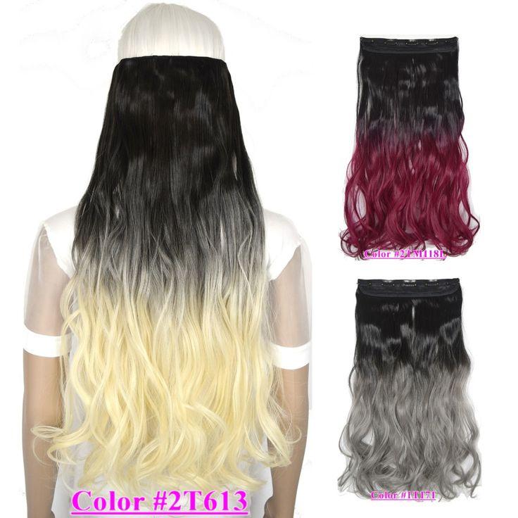 """28 """"(70 cm) 150g dalgalı kıvırcık saç parça klip üzerinde 5 klipler saç uzantıları Ombre renkler sıcak dayanıklı"""