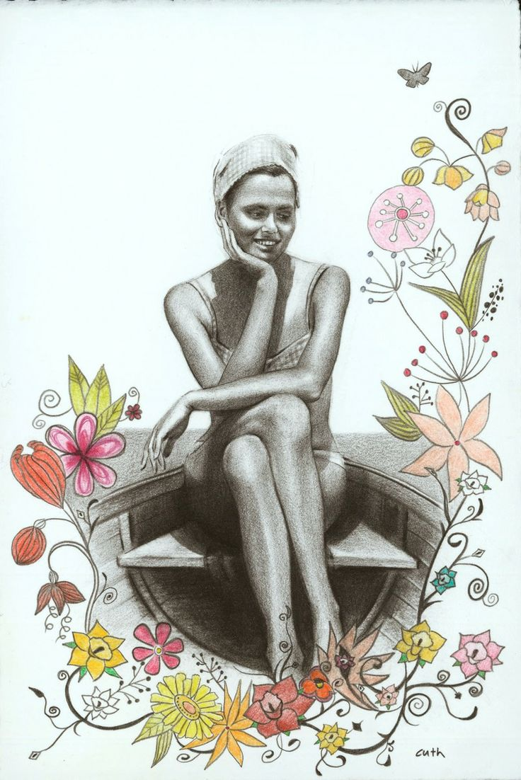 "Contemporary Drawing - ""My Mother at Lake Balaton in 1968"" (Original Art from Emese Cuth)"
