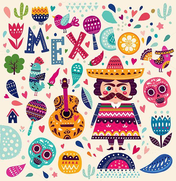 Vector set of Mexican illustrations by MoleskoStudio on @creativemarket