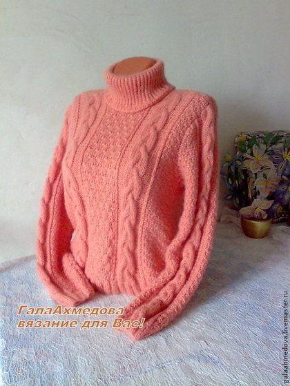 """Теплый вязаный свитер ручной работы """"Персиковый шик"""". - кремовый,свитер"""