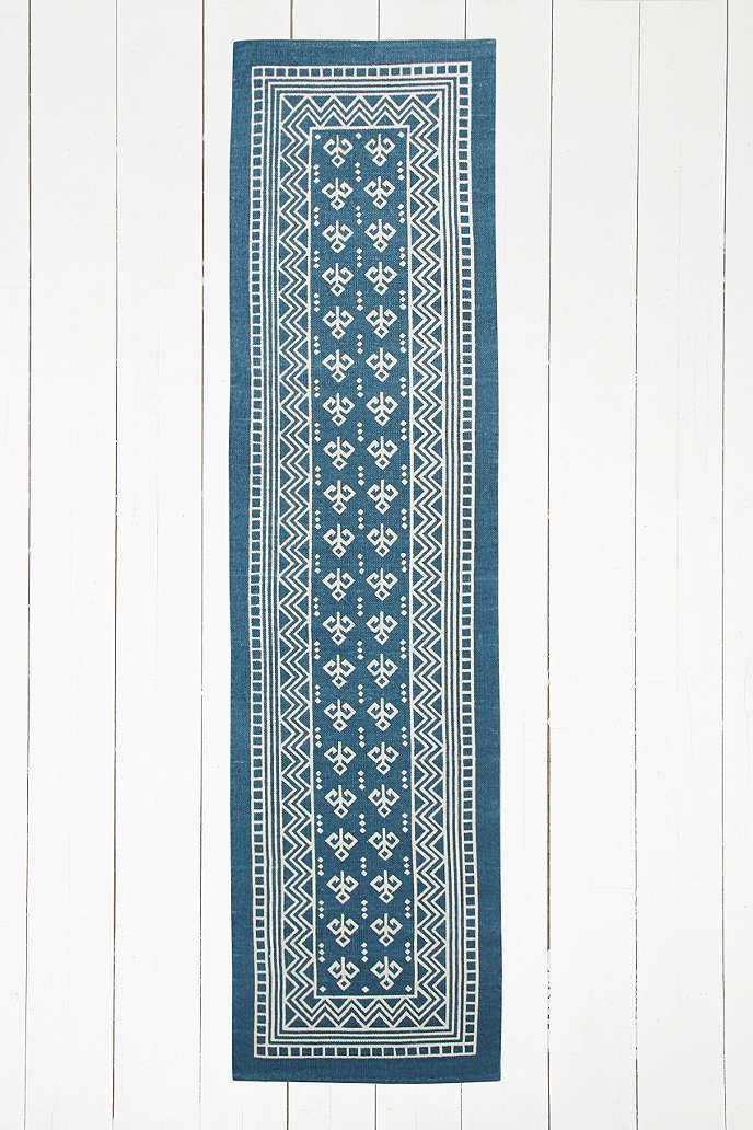 Boho Border 2x8 Blue Rug - Urban Outfitters