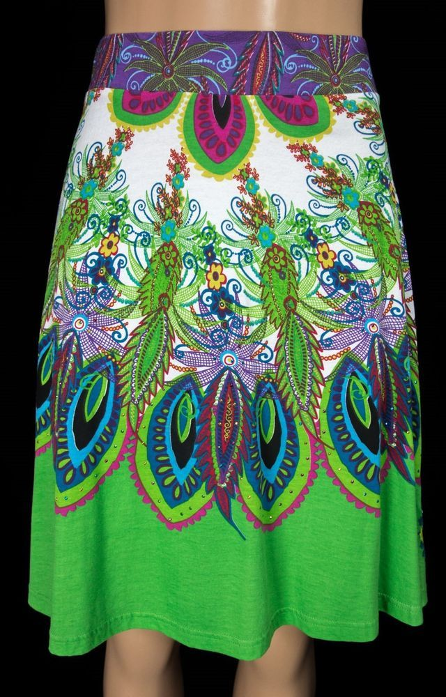 DESIGUAL Skirt Size L Large Bold Multi Color Mini Pull Up Floral Feather Cotton #Desigual #FullSkirt