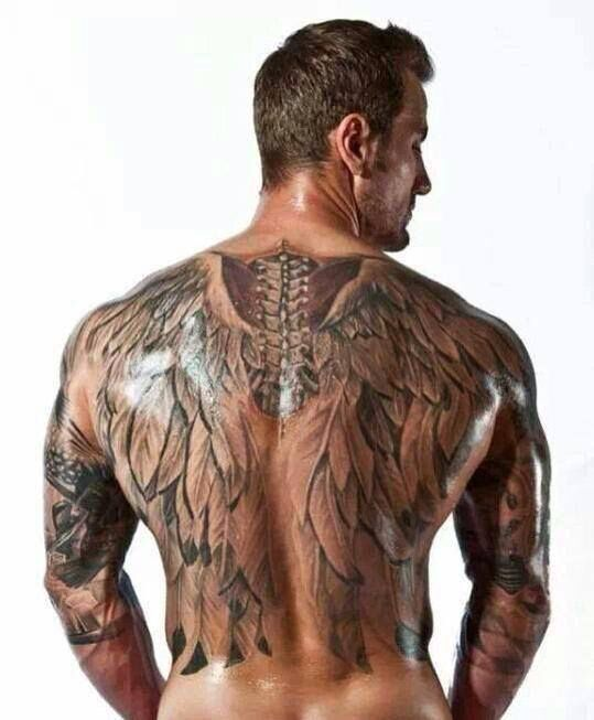 Wings tattoo on back for men